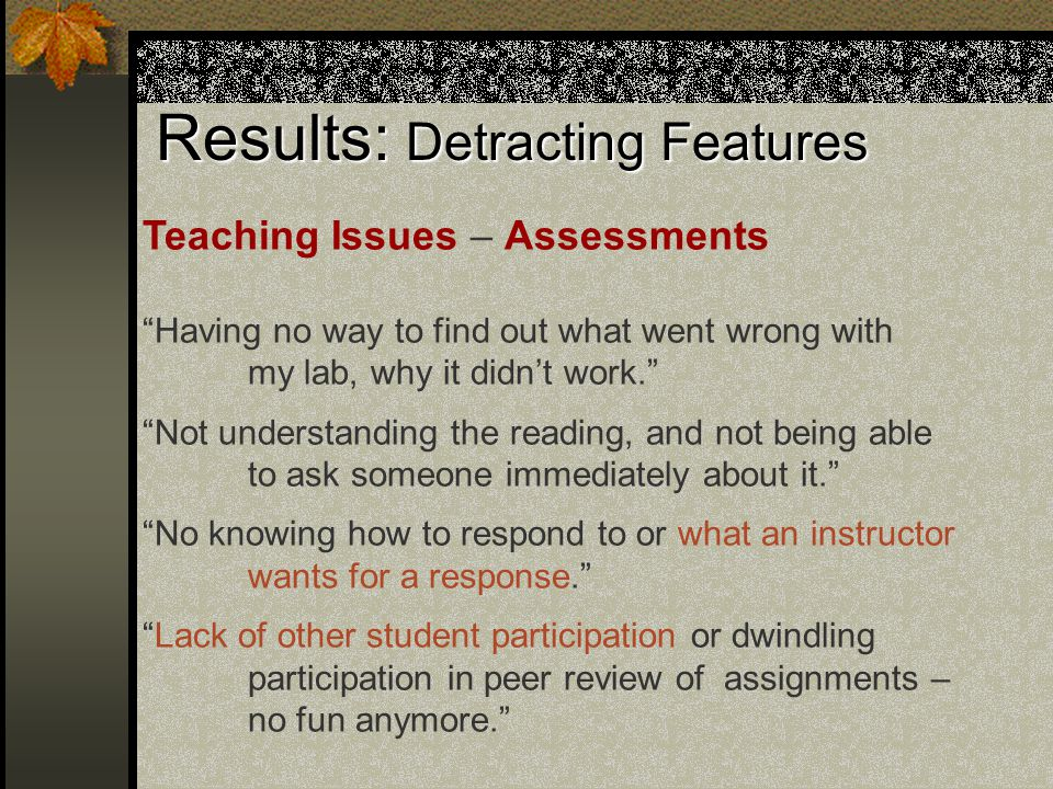 Results: Detracting Features Teaching Issues – Assessments Having no way to find out what went wrong with my lab, why it didn't work. Not understanding the reading, and not being able to ask someone immediately about it. No knowing how to respond to or what an instructor wants for a response. Lack of other student participation or dwindling participation in peer review of assignments – no fun anymore.