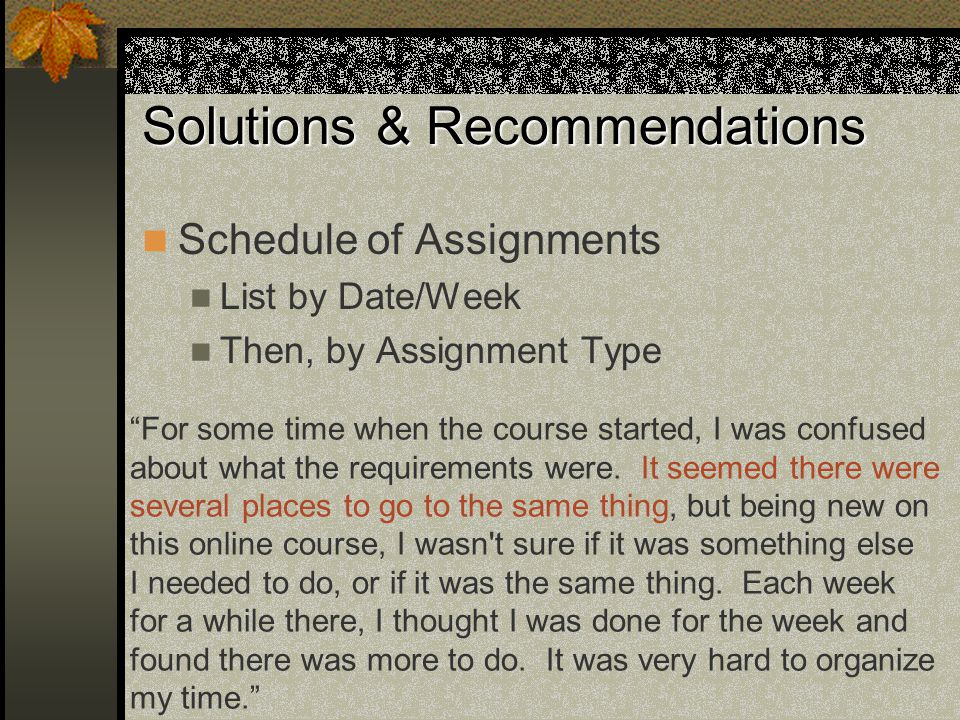 Solutions & Recommendations Schedule of Assignments List by Date/Week Then, by Assignment Type For some time when the course started, I was confused about what the requirements were.
