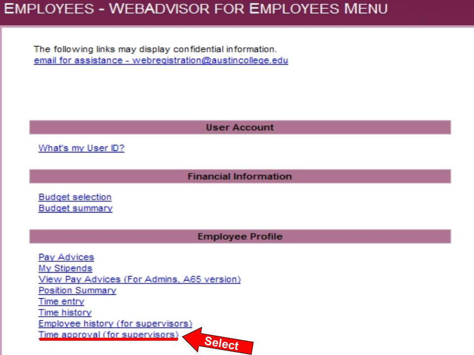 This summary screen contains the Pay Period, the Approve By Date, Student Name, and Total Hours submitted as worked.