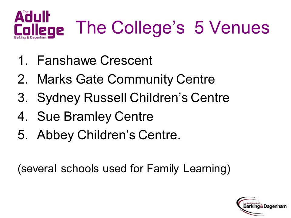 The College's 5 Venues 1.Fanshawe Crescent 2.Marks Gate Community Centre 3.Sydney Russell Children's Centre 4.Sue Bramley Centre 5.Abbey Children's Centre.