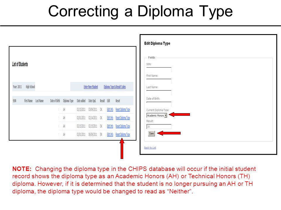 Correcting a Diploma Type NOTE: Changing the diploma type in the CHIPS database will occur if the initial student record shows the diploma type as an