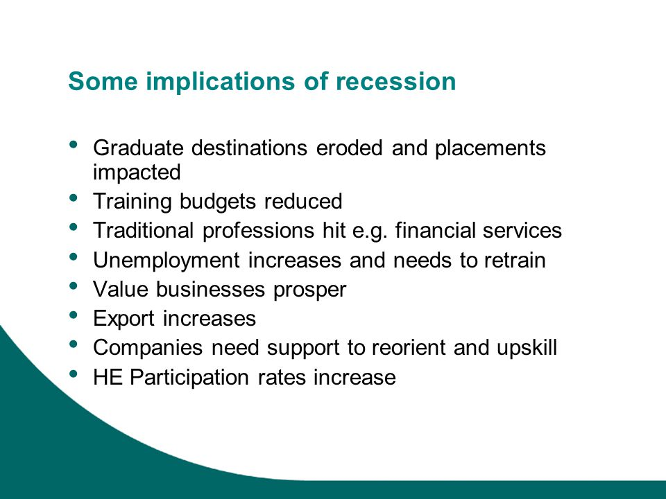 Some implications of recession Graduate destinations eroded and placements impacted Training budgets reduced Traditional professions hit e.g.