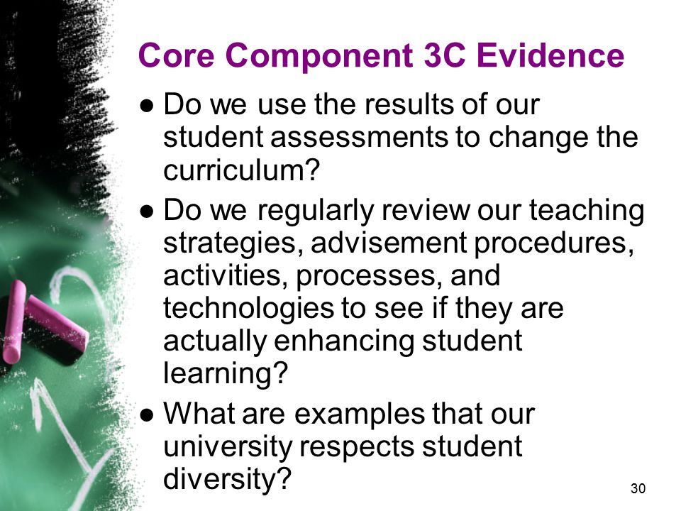 30 Core Component 3C Evidence ●Do we use the results of our student assessments to change the curriculum.