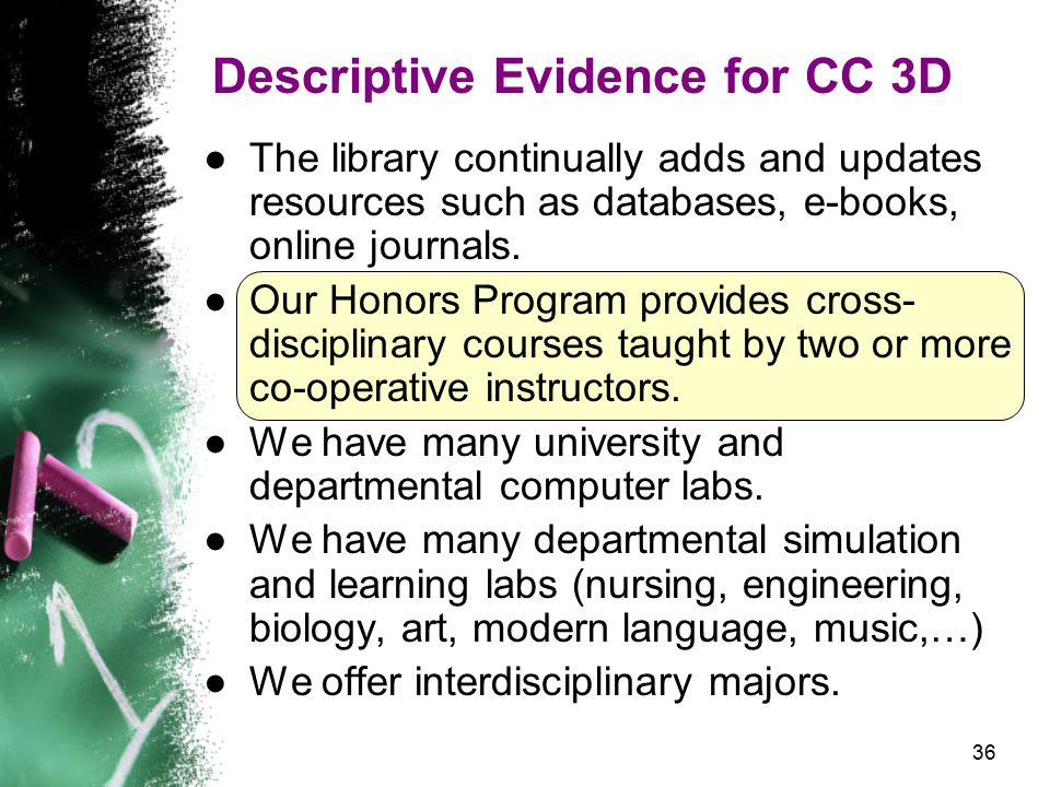36 Descriptive Evidence for CC 3D ●The library continually adds and updates resources such as databases, e-books, online journals.