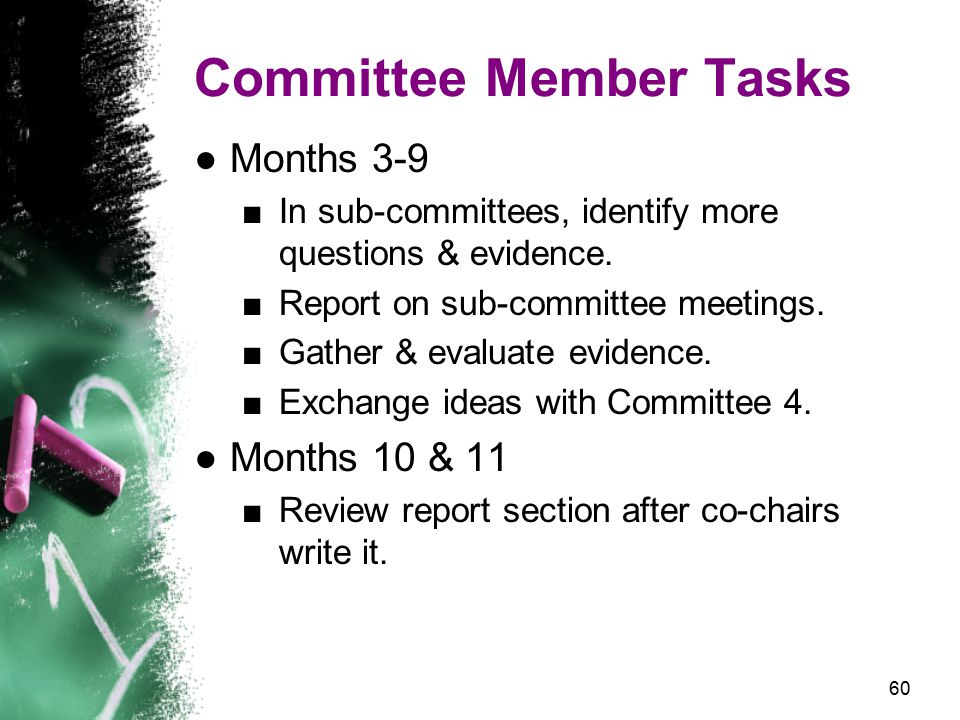 60 Committee Member Tasks ●Months 3-9 ■In sub-committees, identify more questions & evidence.