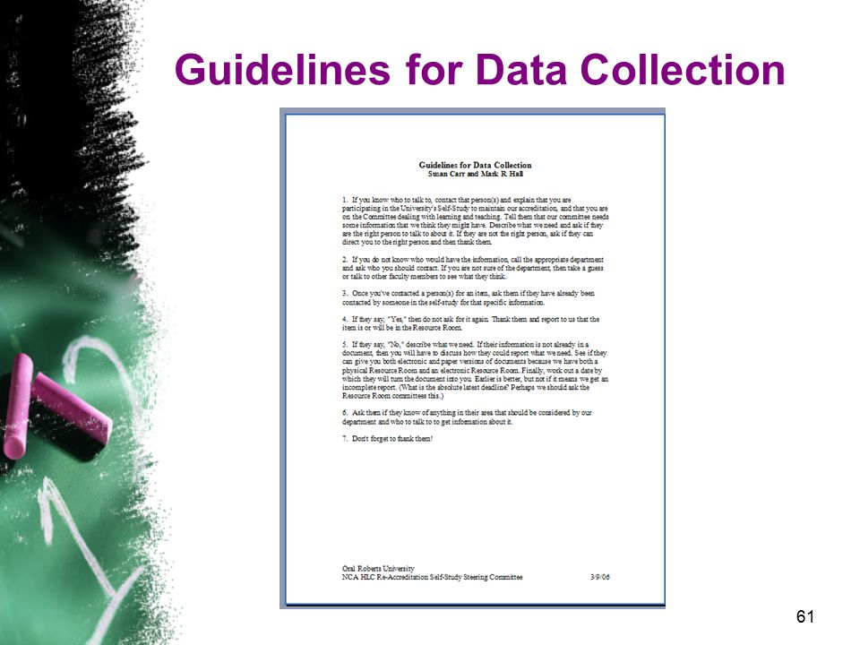61 Guidelines for Data Collection