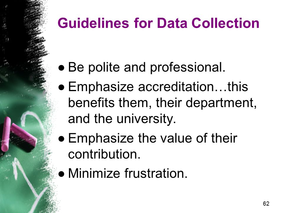 62 Guidelines for Data Collection ●Be polite and professional.