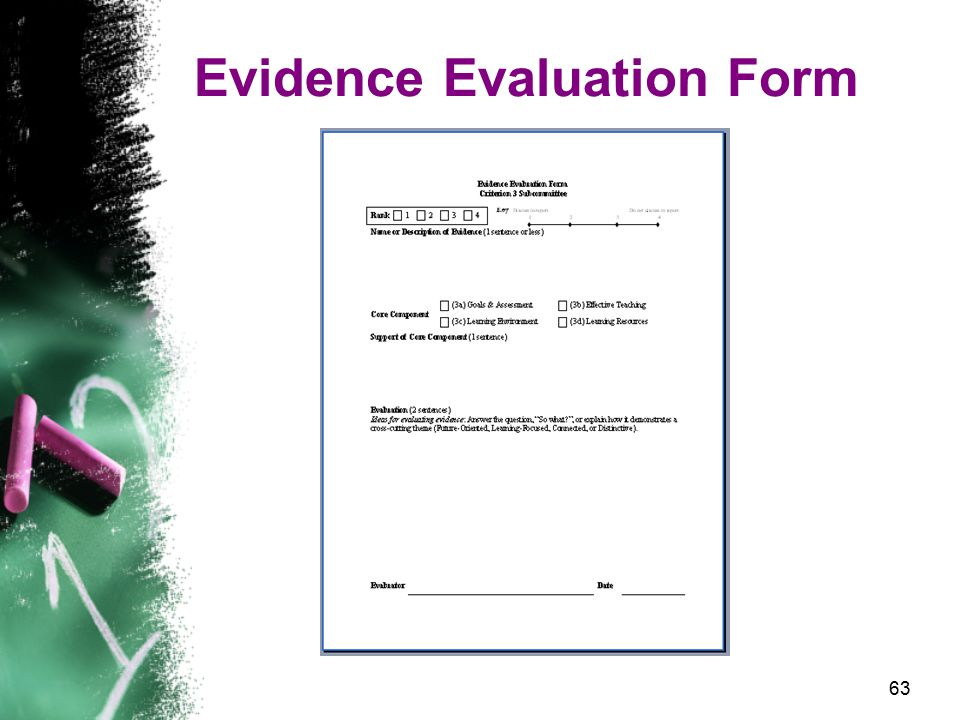 63 Evidence Evaluation Form