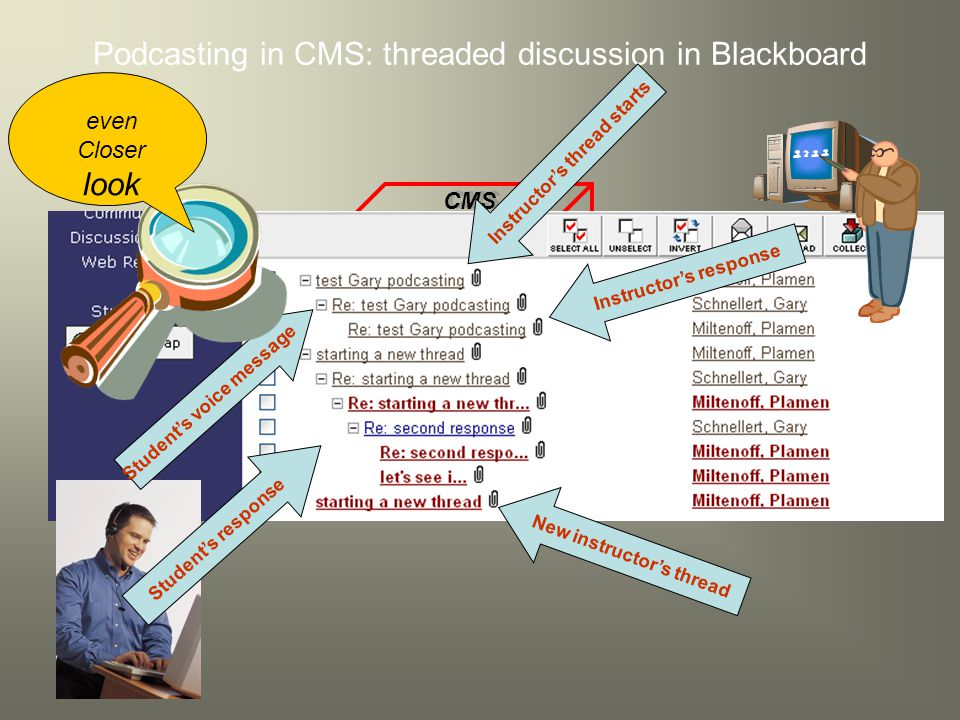 CMS Podcasting in CMS: threaded discussion in Blackboard Student's voice message Instructor's thread starts Student's response Instructor's response New instructor's thread even Closer look