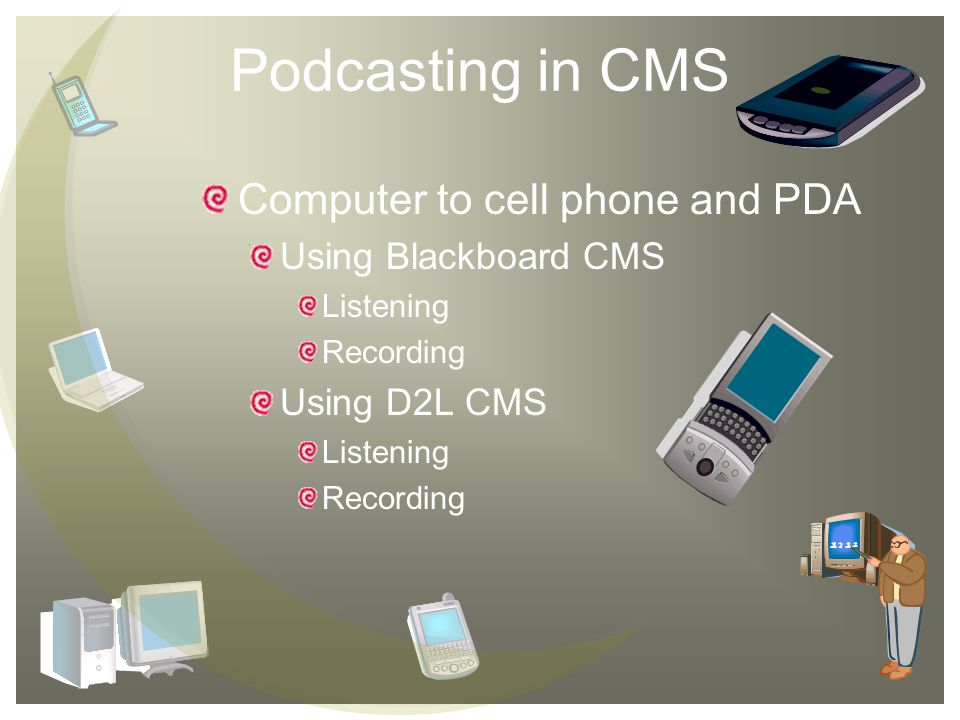 Podcasting in CMS Computer to cell phone and PDA Using Blackboard CMS Listening Recording Using D2L CMS Listening Recording