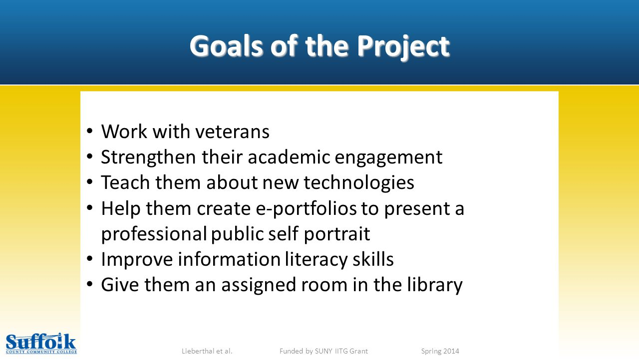 Goals of the Project Lieberthal et al.