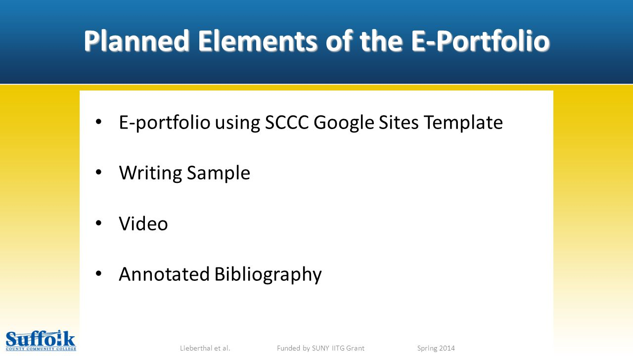 Planned Elements of the E-Portfolio Lieberthal et al.