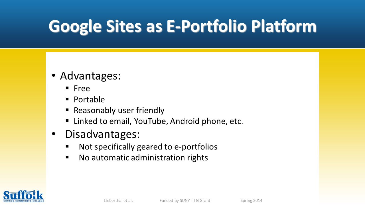 Google Sites as E-Portfolio Platform Lieberthal et al.