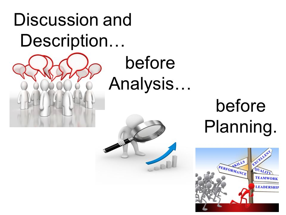 Discussion and Description… before Analysis… before Planning.