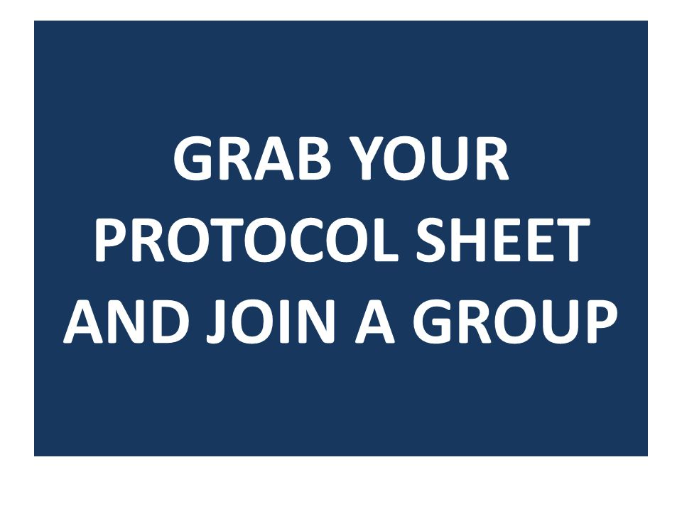 GRAB YOUR PROTOCOL SHEET AND JOIN A GROUP