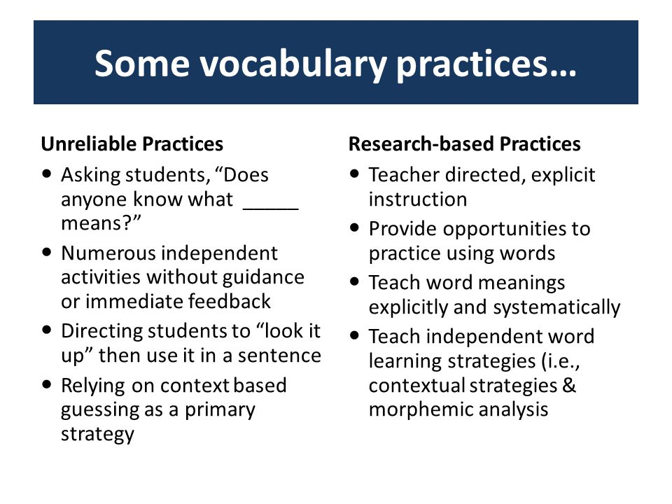 Some vocabulary practices… Unreliable PracticesResearch-based Practices Asking students, Does anyone know what _____ means Numerous independent activities without guidance or immediate feedback Directing students to look it up then use it in a sentence Relying on context based guessing as a primary strategy Teacher directed, explicit instruction Provide opportunities to practice using words Teach word meanings explicitly and systematically Teach independent word learning strategies (i.e., contextual strategies & morphemic analysis