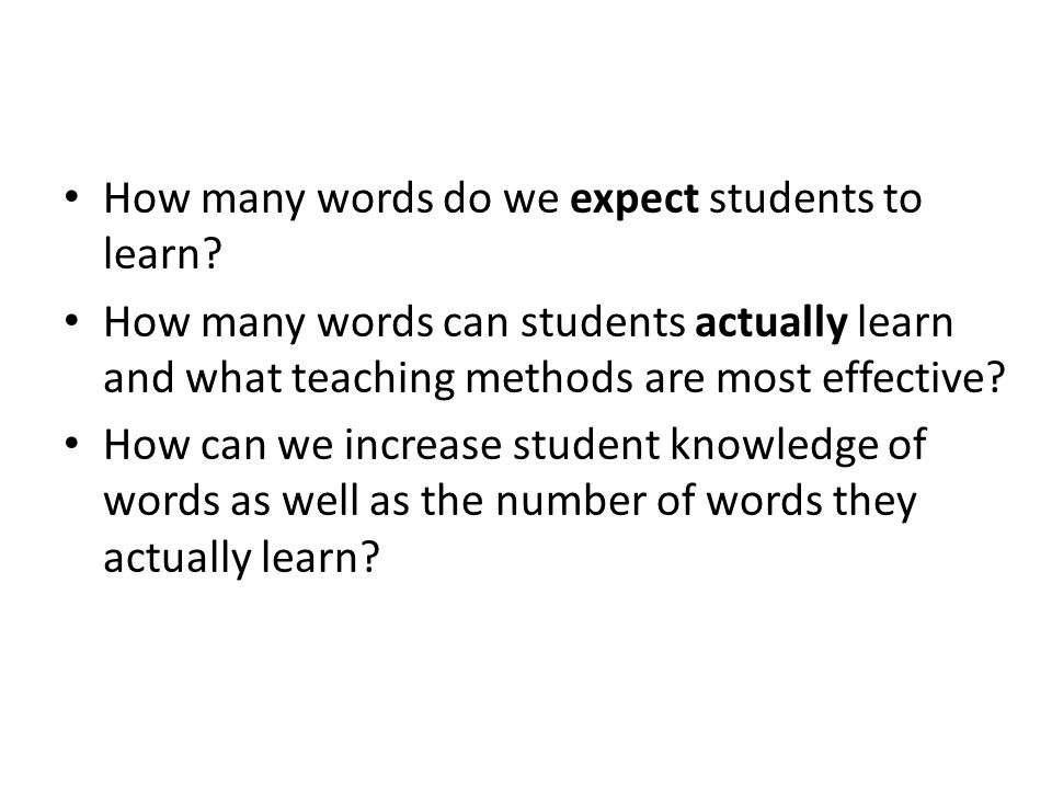How many words do we expect students to learn.