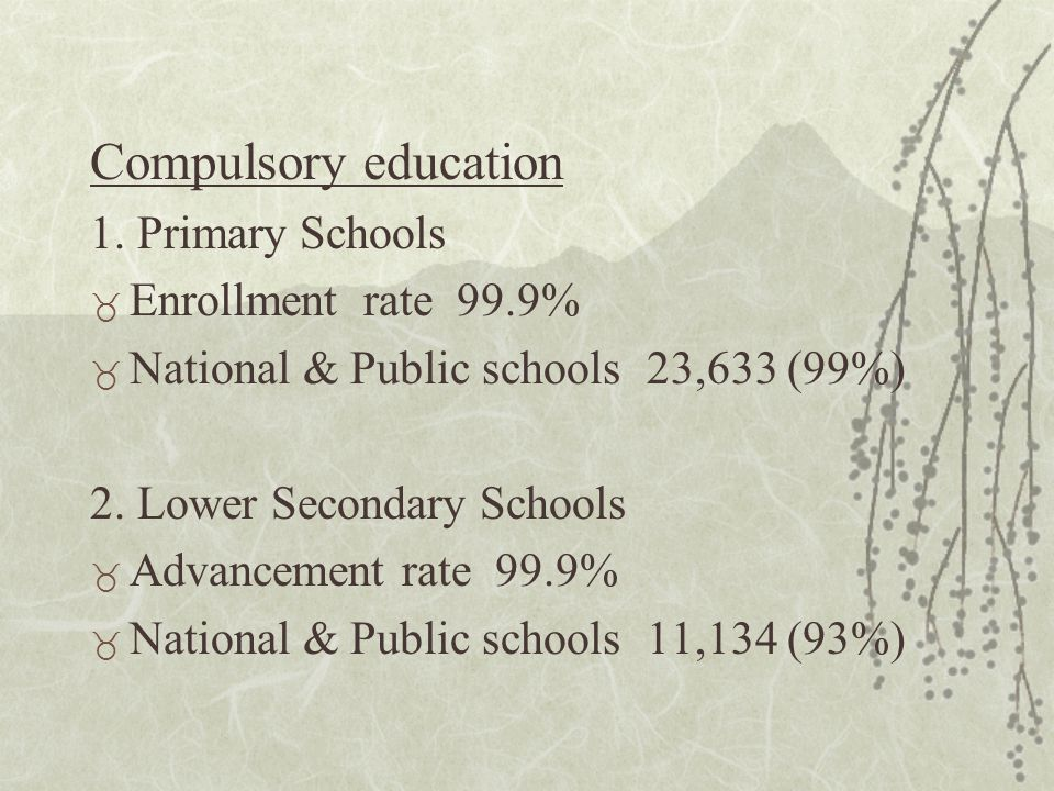 Post compulsory education Upper Secondary Schools _ Advancement rate 97% (Male 96%, Female 97%) _ National & Public schools 5,450 (75%) * The five-year secondary schools have been established