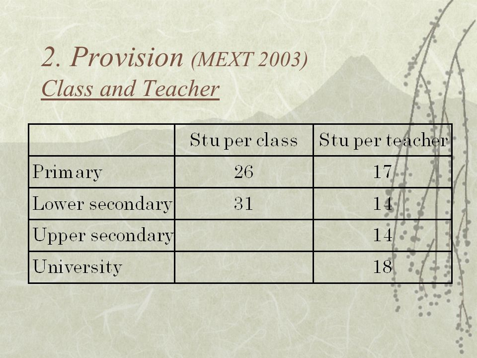 2. Provision (MEXT 2003) Class and Teacher