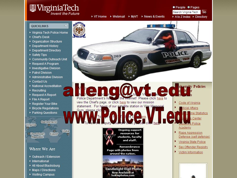 Clery Report Online at www.Police.VT.edu A Shared Responsibility