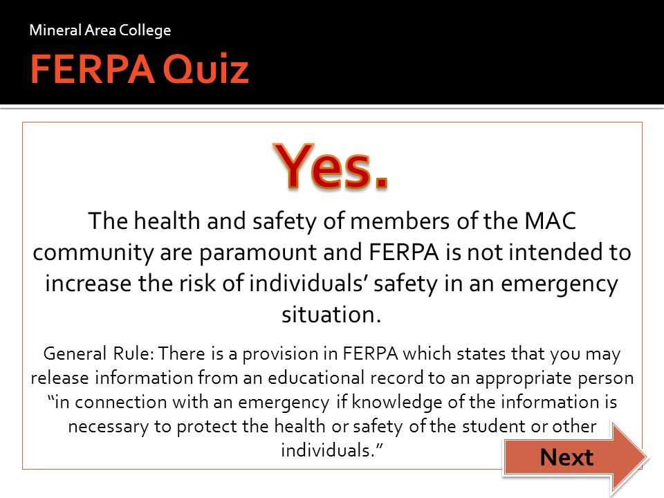 Go Back Mineral Area College FERPA Quiz
