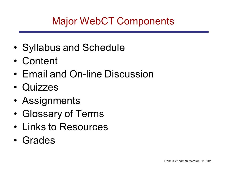 Dennis Wiedman Version 1/12/05 Major WebCT Components Syllabus and Schedule Content Email and On-line Discussion Quizzes Assignments Glossary of Terms Links to Resources Grades