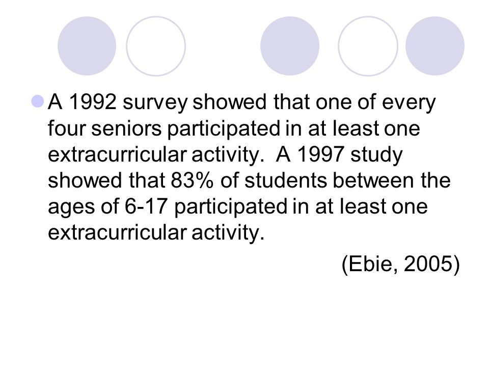 A 1992 survey showed that one of every four seniors participated in at least one extracurricular activity.