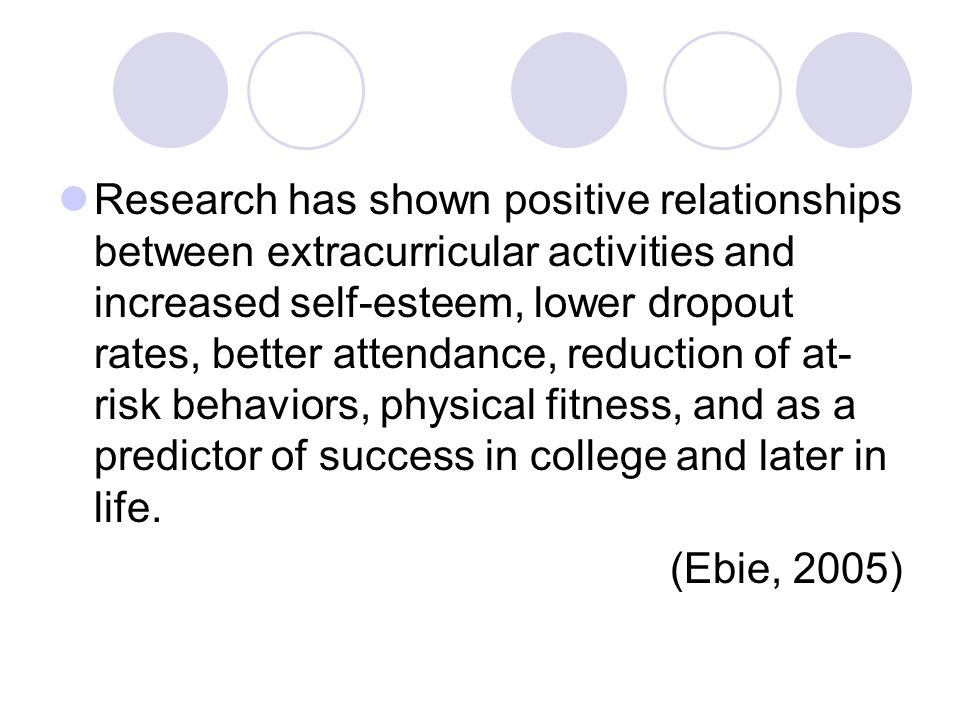 Research has shown positive relationships between extracurricular activities and increased self-esteem, lower dropout rates, better attendance, reduction of at- risk behaviors, physical fitness, and as a predictor of success in college and later in life.