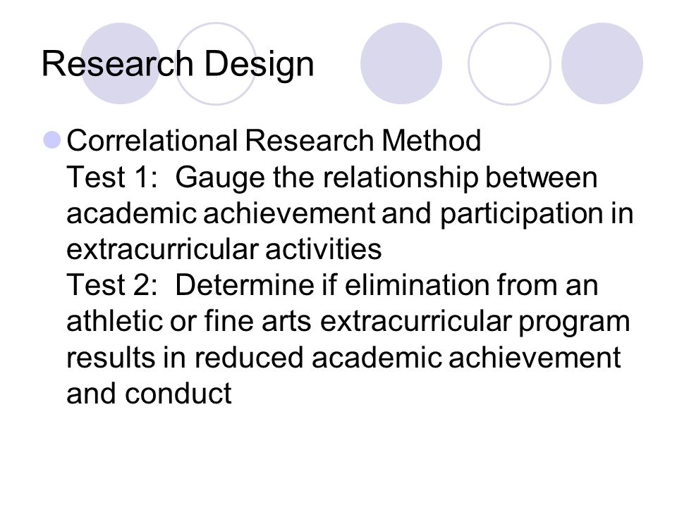Research Design Correlational Research Method Test 1: Gauge the relationship between academic achievement and participation in extracurricular activities Test 2: Determine if elimination from an athletic or fine arts extracurricular program results in reduced academic achievement and conduct