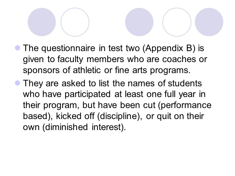 The questionnaire in test two (Appendix B) is given to faculty members who are coaches or sponsors of athletic or fine arts programs.