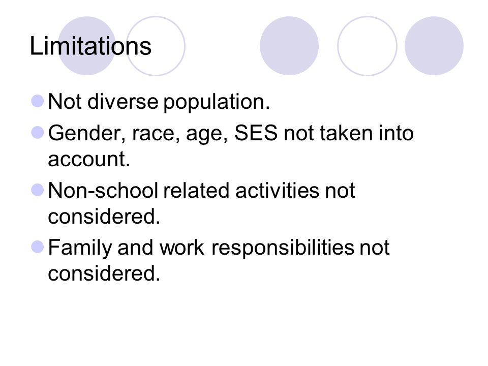 Limitations Not diverse population. Gender, race, age, SES not taken into account.
