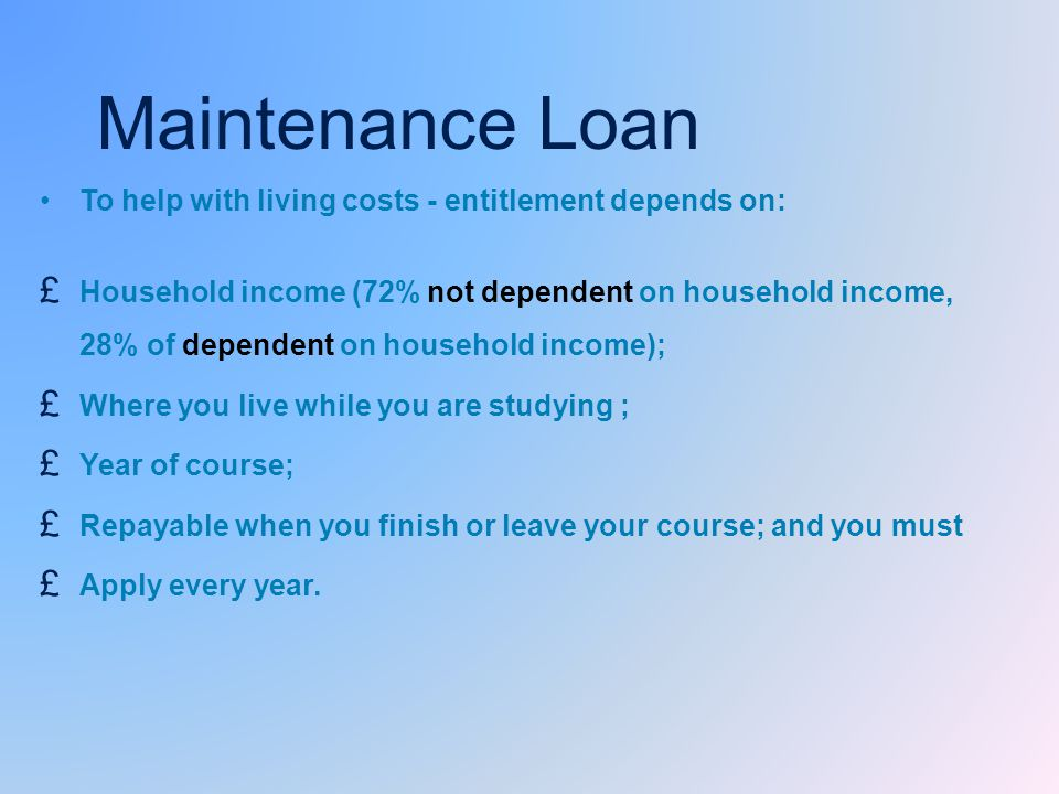 Maintenance Loan To help with living costs - entitlement depends on: £ Household income (72% not dependent on household income, 28% of dependent on household income); £ Where you live while you are studying ; £ Year of course; £ Repayable when you finish or leave your course; and you must £ Apply every year.