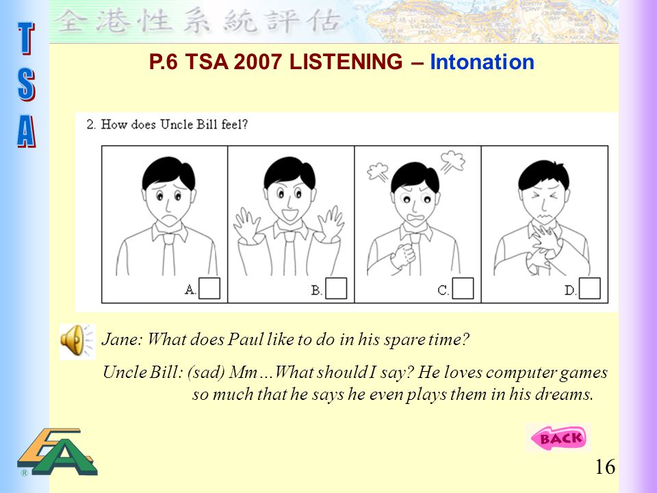 16 Jane: What does Paul like to do in his spare time? Uncle Bill: (sad) Mm…What should I say? He loves computer games so much that he says he even pla