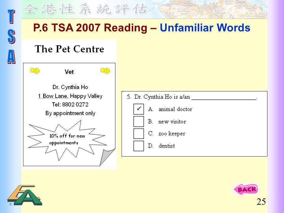 25 P.6 TSA 2007 Reading – Unfamiliar Words
