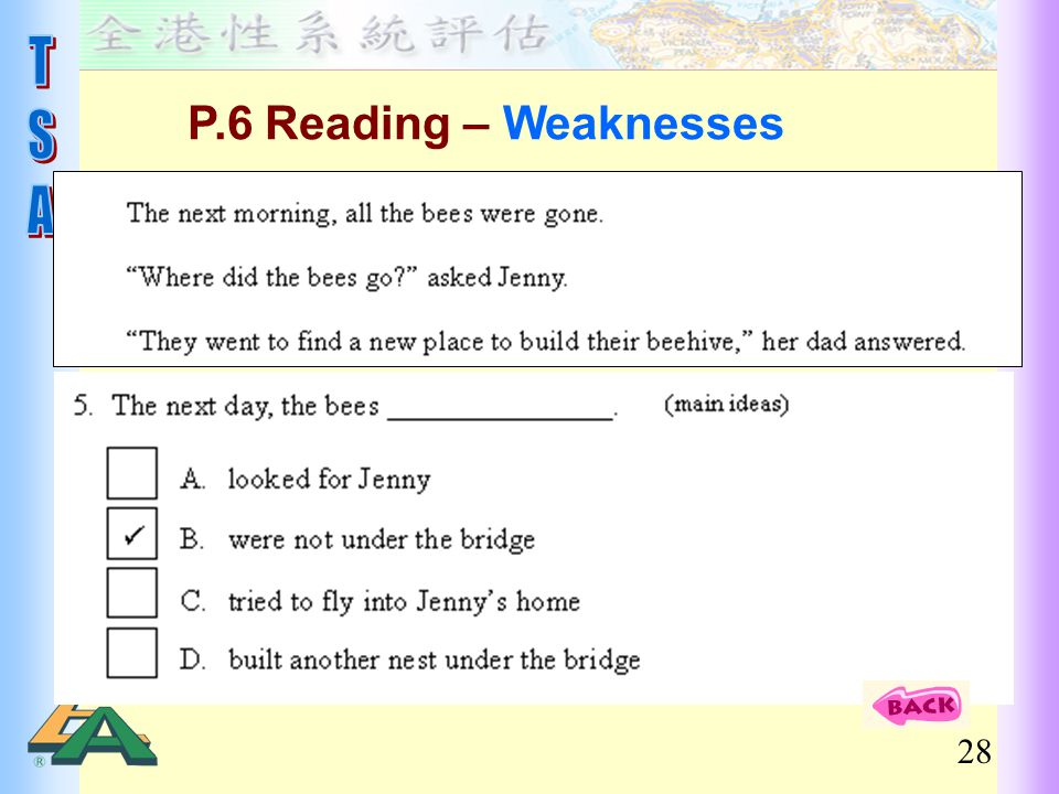 28 P.6 Reading – Weaknesses