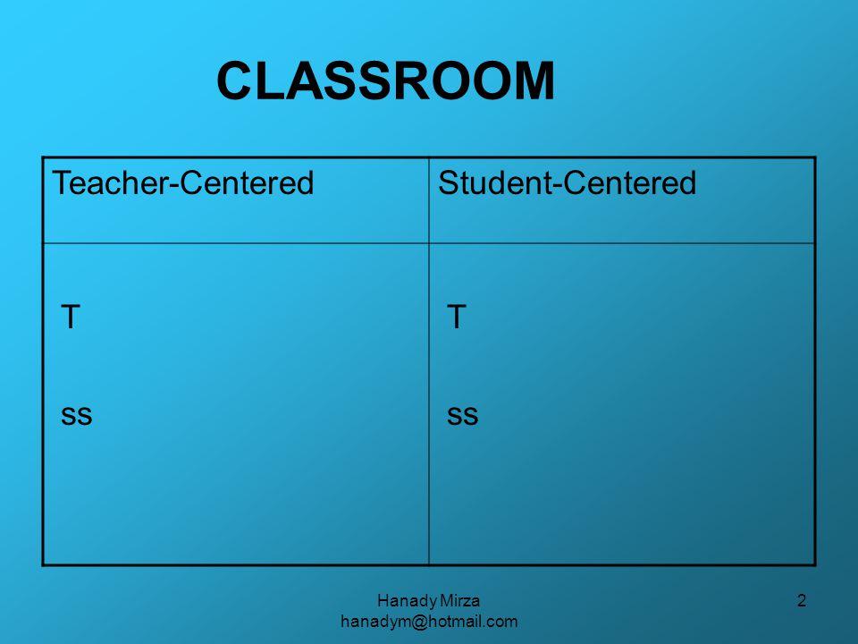 Hanady Mirza hanadym@hotmail.com 3 STUDENT-CENTERED CLASSROOM How do students actively learn.