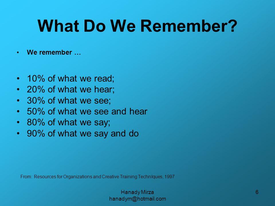 Hanady Mirza hanadym@hotmail.com 6 What Do We Remember.
