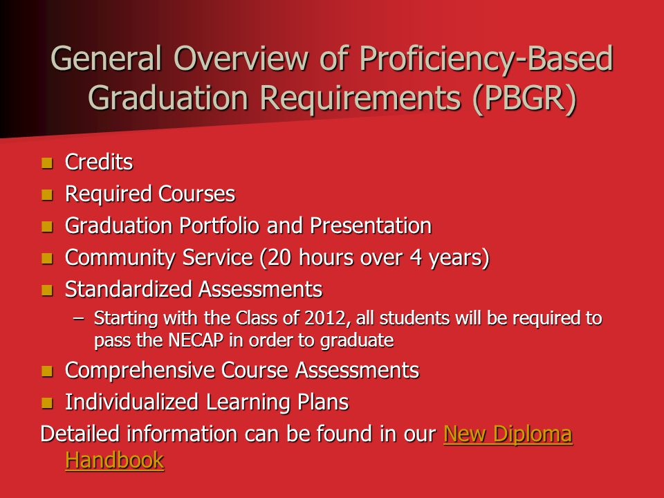 General Overview of Proficiency-Based Graduation Requirements (PBGR) Credits Credits Required Courses Required Courses Graduation Portfolio and Presen