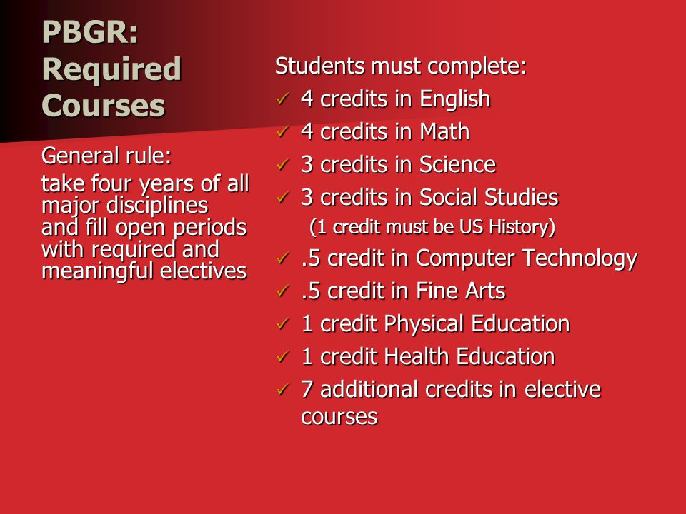 PBGR: Required Courses Students must complete: 4 credits in English 4 credits in English 4 credits in Math 4 credits in Math 3 credits in Science 3 cr