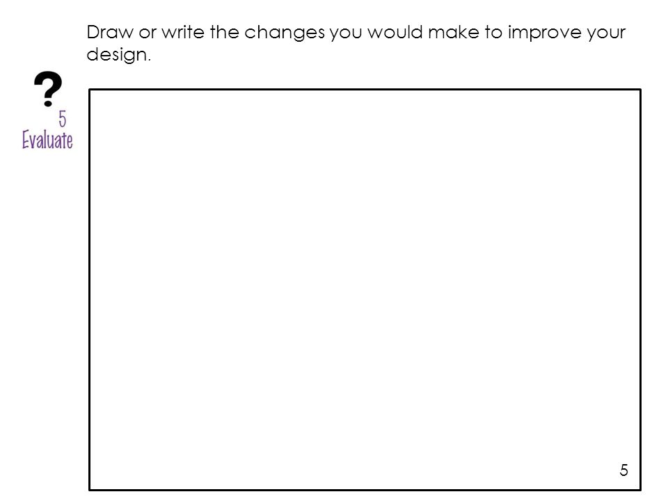 Draw or write the changes you would make to improve your design. 5