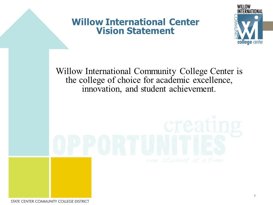 Willow International Center Vision Statement Willow International Community College Center is the college of choice for academic excellence, innovation, and student achievement.