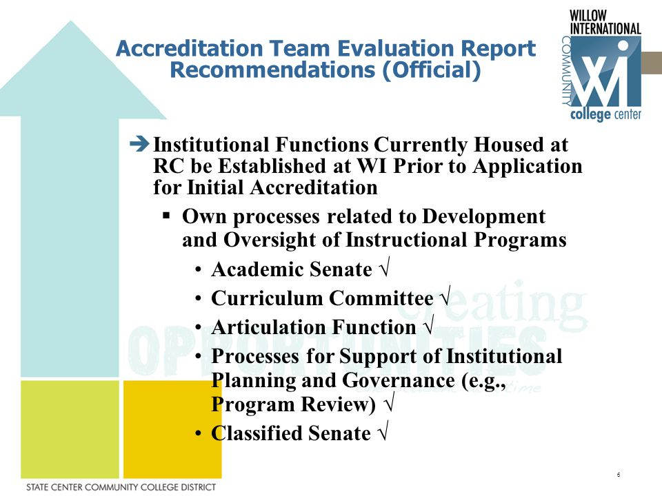 Accreditation Team Evaluation Report Recommendations (Official)  Institutional Functions Currently Housed at RC be Established at WI Prior to Application for Initial Accreditation  Own processes related to Development and Oversight of Instructional Programs Academic Senate √ Curriculum Committee √ Articulation Function √ Processes for Support of Institutional Planning and Governance (e.g., Program Review) √ Classified Senate √ 6