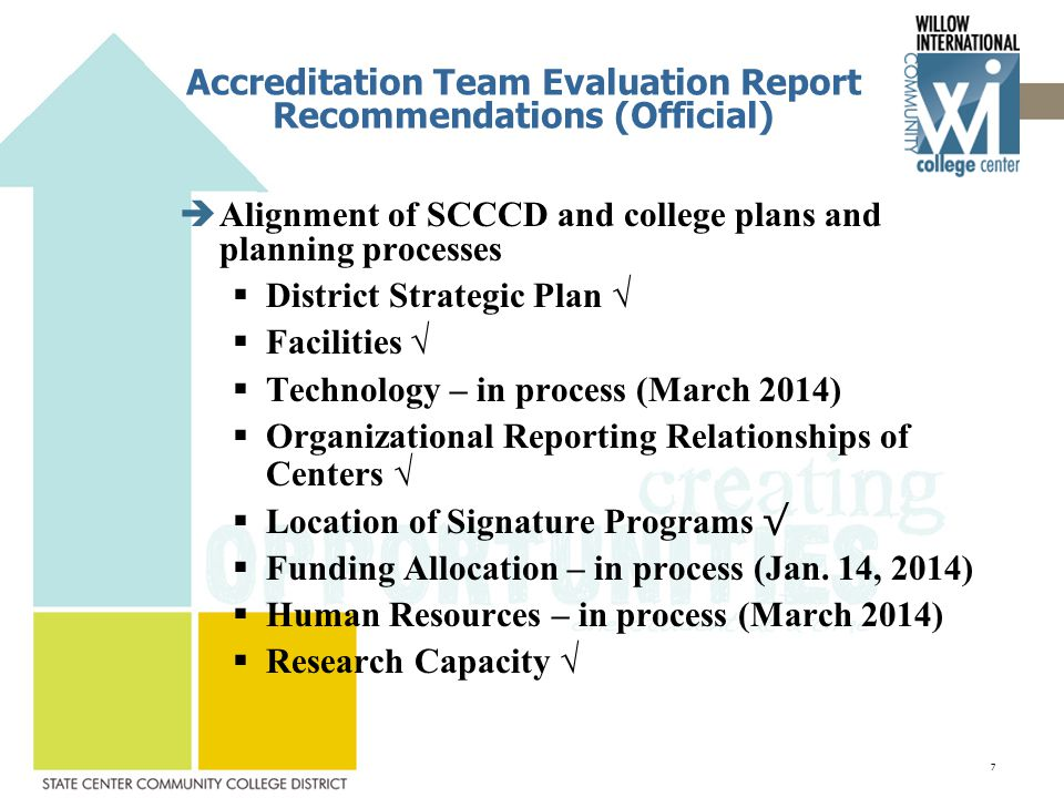 Accreditation Team Evaluation Report Recommendations (Official)  Alignment of SCCCD and college plans and planning processes  District Strategic Plan √  Facilities √  Technology – in process (March 2014)  Organizational Reporting Relationships of Centers √  Location of Signature Programs √  Funding Allocation – in process (Jan.