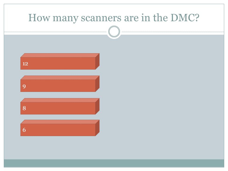 How many scanners are in the DMC? 6 8 9 12