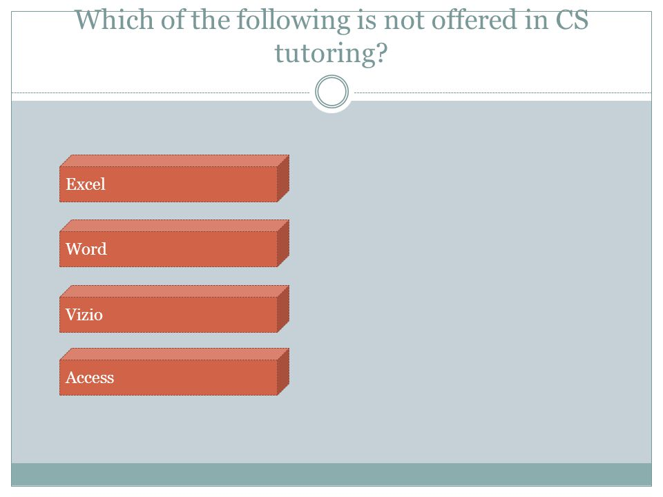 Which of the following is not offered in CS tutoring? Access Vizio Word Excel