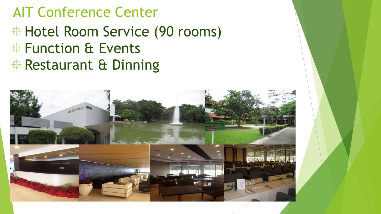 AIT Conference Center  Hotel Room Service (90 rooms)  Function & Events  Restaurant & Dinning