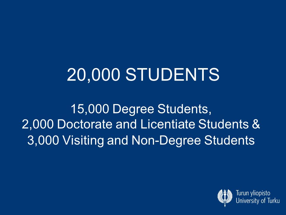 20,000 STUDENTS 15,000 Degree Students, 2,000 Doctorate and Licentiate Students & 3,000 Visiting and Non-Degree Students