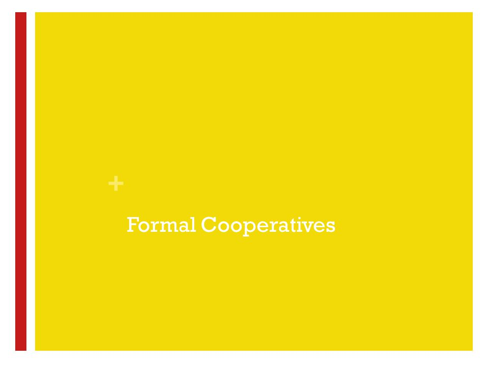 + Formal Cooperatives