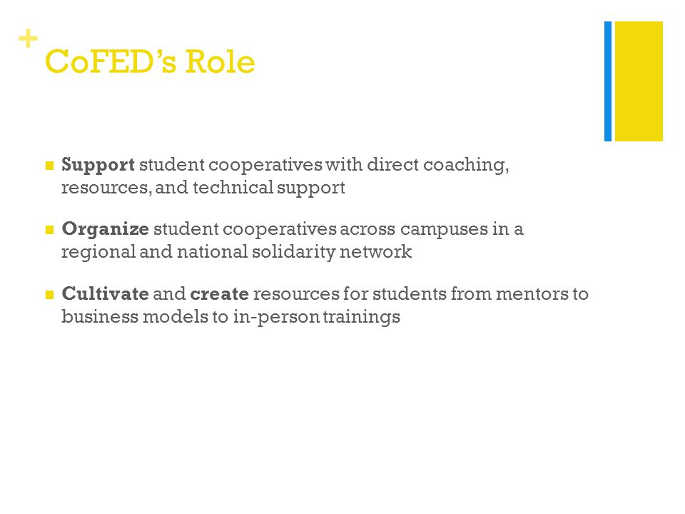 + CoFED's Role Support student cooperatives with direct coaching, resources, and technical support Organize student cooperatives across campuses in a regional and national solidarity network Cultivate and create resources for students from mentors to business models to in-person trainings