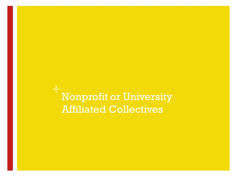 + Nonprofit or University Affiliated Collectives
